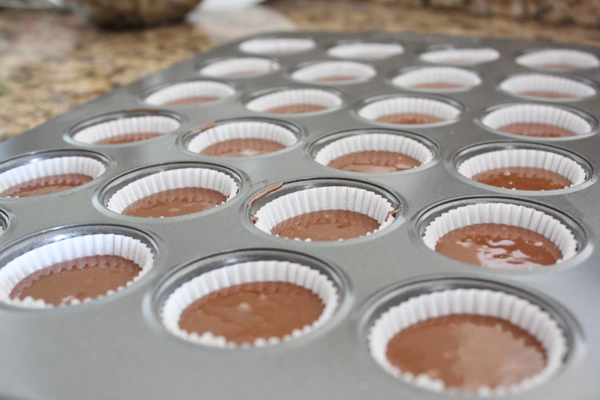 Cupcake liners filled with chocolate cupcake batter.