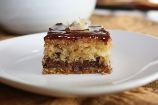 Chocolate chip coconut bar on white plate.