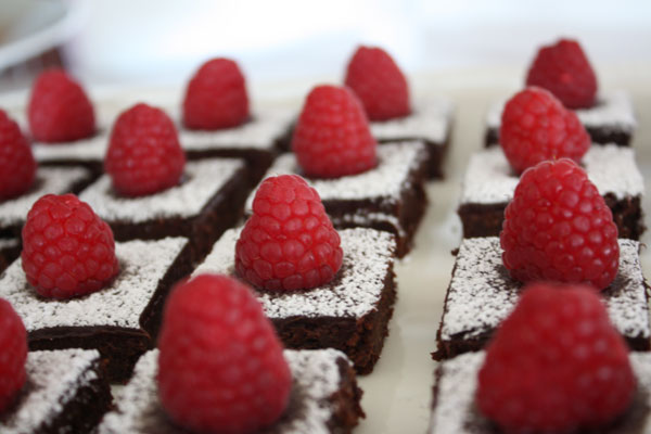 July 4th All American Dessert Buffet- Brownies topped with raspberries