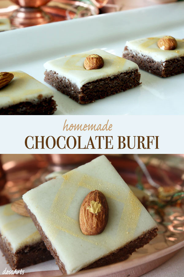 Two Photo collage. Chocolate burfi on white tray and close up of burfi decorated with luster dust and almond.