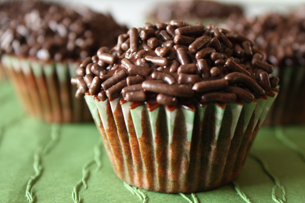 Dark chocolate cupcakes with chocolate ganache and chocolate sprinkles.