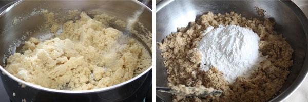 Side by side photo of gujiya filling process.