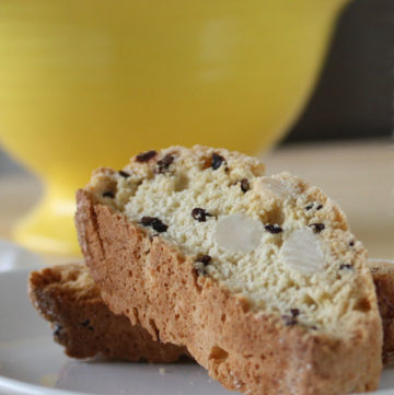 Almond biscotti with cocoa nibs make a perfect accompaniment to your morning coffee. Cocoa nibs give each bite just the perfect hint of chocolate.