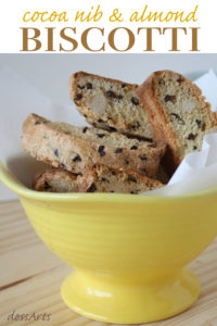 Almondbiscotti withcocoa nibs make a perfect accompaniment to your morning coffee. Cocoa nibs give each bite just the perfect hint of chocolate.