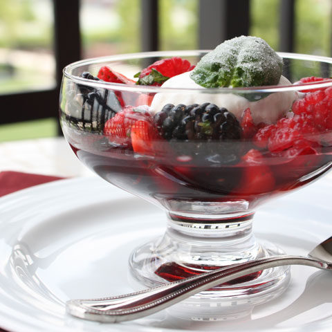 Summer Berry Salad with Frosted Basil Leaves