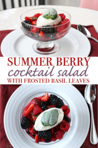 "This refreshing summer berry salad cocktail is a quickly made dessert and can be dressed up for guests with an equally easy to do garnish. The berries are tossed with minced basil and mint and lemon Chambord ""dressing""."