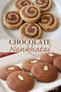 Chocolate nankhatai is a twist on the traditional shortbread biscuits originating in India. This recipe lets you tryout making your own homemade traditional nankhatai, chocolate nankhatai or a fun mixed dough pinwheel nankhatai.