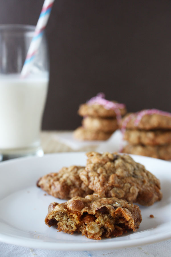 Oatmeal Butterscotch Chocolate Chip Cookies with glass of milk.