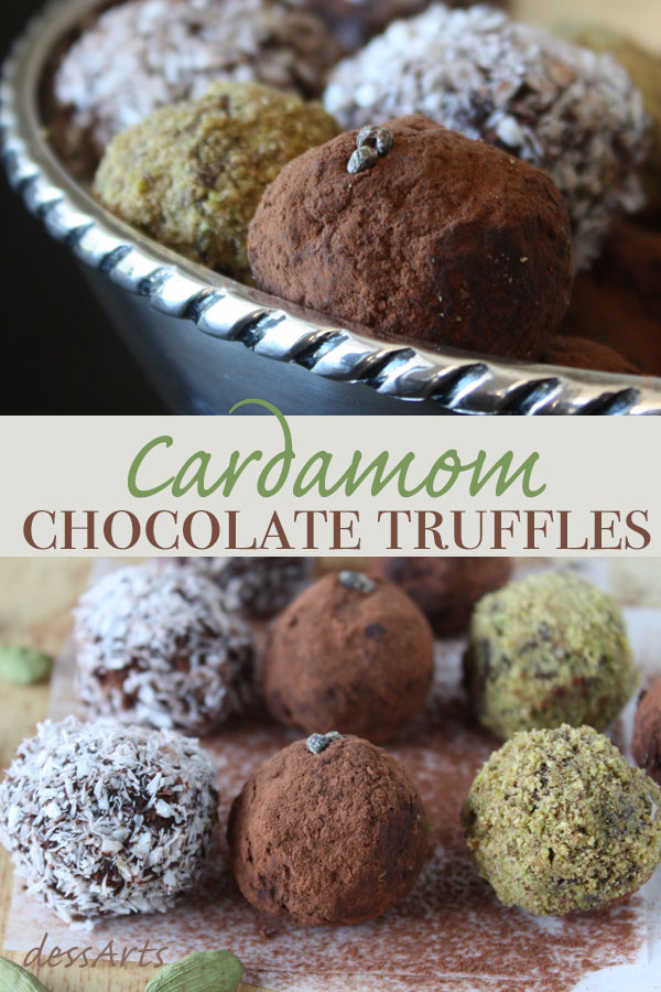 Cardamom chocolate truffles shown here are inspired by flavors from traditional Indian desserts. They are the perfect aromatic chocolate indulgence.