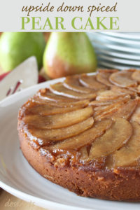 Spice upside down pear cake is a refreshing alternative to pumpkin pie this holiday season. Warm fall spices take ordinary pears to the next level in this beautiful dessert.