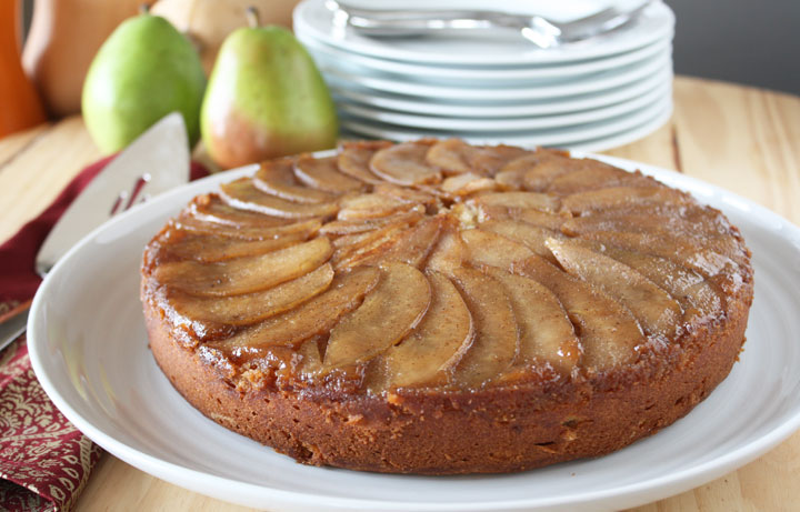 Spice upside down pear cake