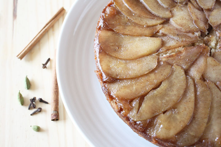 Top View of Spiced Upside Down Pear Cake