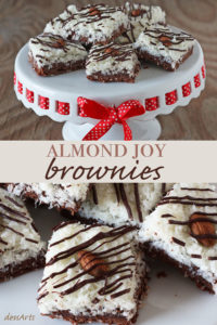 These Almond Joy brownies will delight any chocolate lover that likes coconut too. These bars have a chewy brownie layer on the bottom and a sweet coconut and almond layer on top.