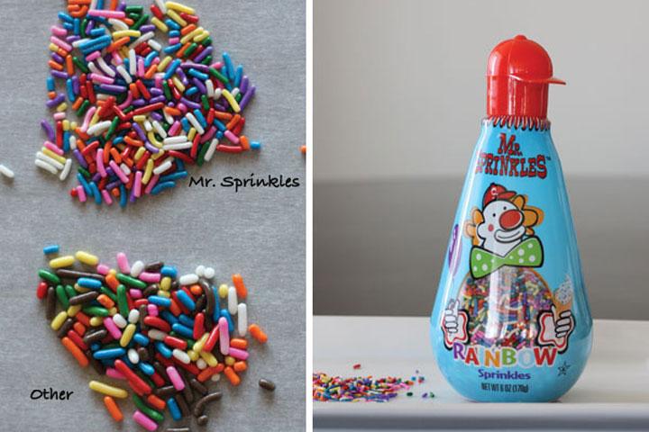 Comparison of Mr. Sprinkles rainbow sprinkles next to other sprinkles.