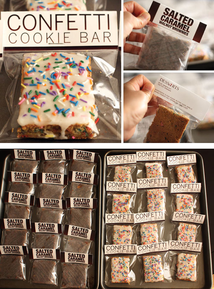 Confetti Cookie Bars and Salted Caramel Brownies shown in their packaging with labels