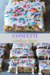 Confetti cookie bars! It's a cookie bar baked with sprinkles and covered with frosting and even more sprinkles.