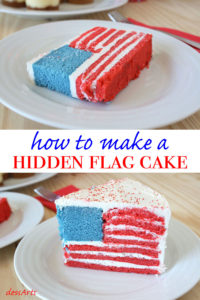 Making a hidden flag cake is easier than you might think. Surprise your guests with this festive red white and blue flag cake!