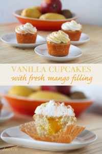 These fresh mango cupcakes are filled with mango puree and topped with a colored swirl of vanilla butter cream. They are the perfect treat for any mango fanatic.