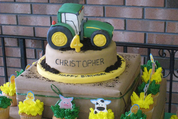 John Deere tractor cake made with fondant.