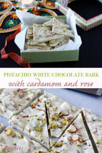 Chocolate bark can be made as an easy gift for any holiday. This pistachio white chocolate bark with cardamom and rose was created especially for Diwali but I'd say it's good any time of year!