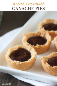 Mini coconut ganache pies are a delight. Luscious chocolate is poured into a delicate coconut crust making them gluten free too.