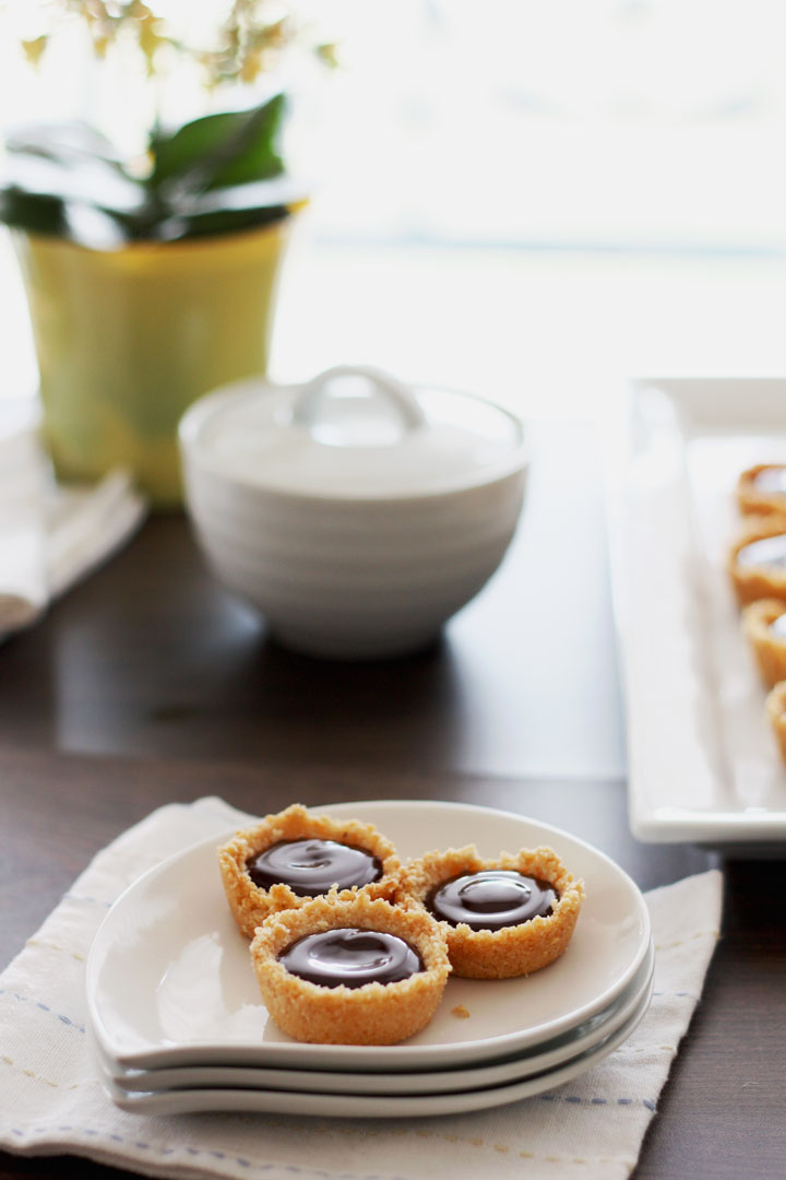 Mini coconut ganache pies in a small plate with plant and bowl in background.