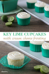 Key lime cupcakes with cream cheese frosting are light and refreshing and perfect for the summer. Step away from vanilla and chocolate and give these a go!