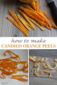 Candied orange peels make beautiful garnishes for cakes, tarts, parfaits or ice cream. You can make plain candied peels or dredge them in sugar for a crystallized look.