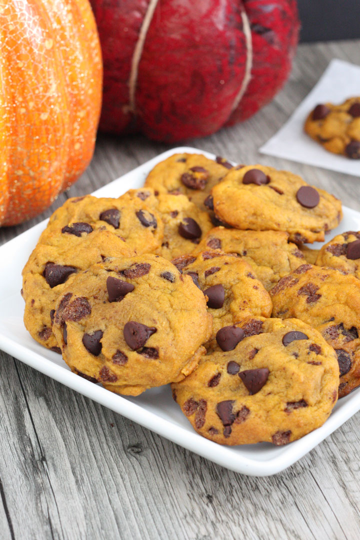Platter of pumpkin chocolate chip cookies.