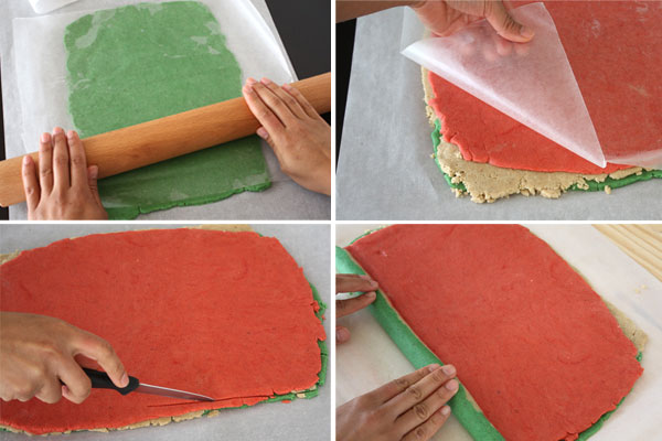 The process of rolling out pinwheel Christmas Nankhatai cookies shown in four steps.
