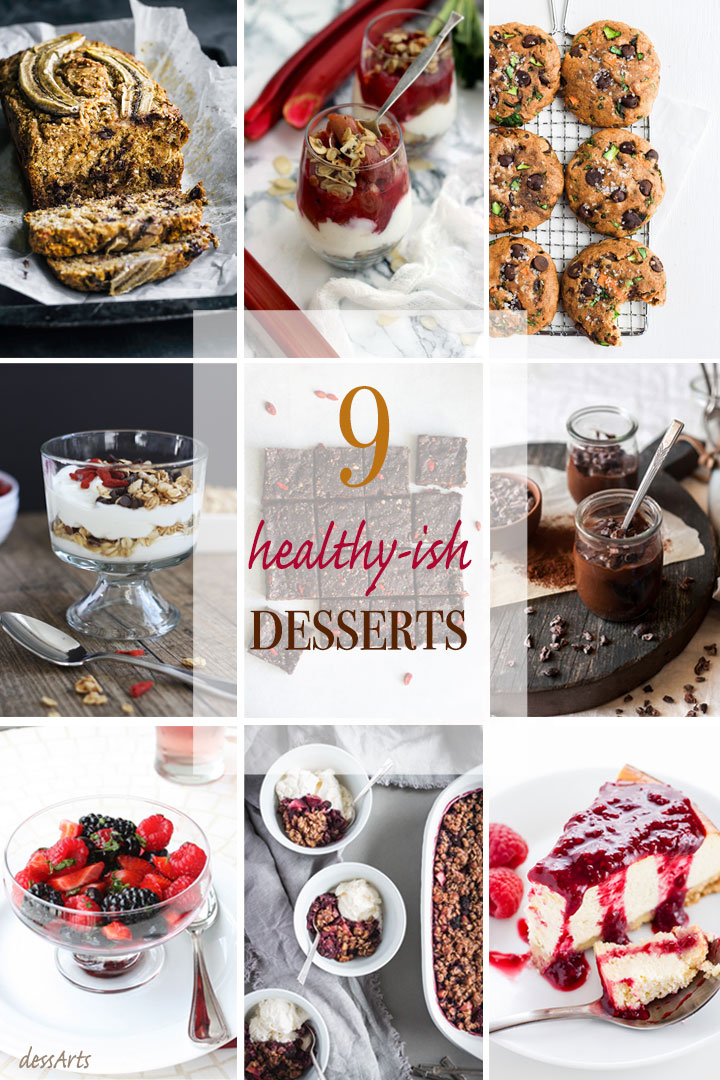 A photo collage showing 9 healthy desserts