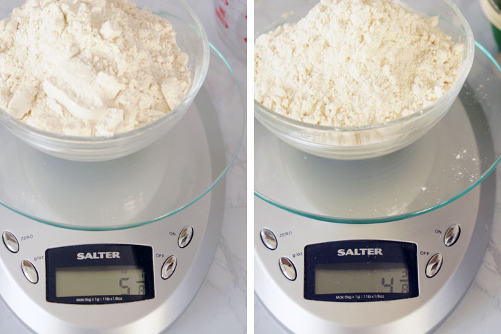 Side by side photos of flour being weighed on a scale using different methods.