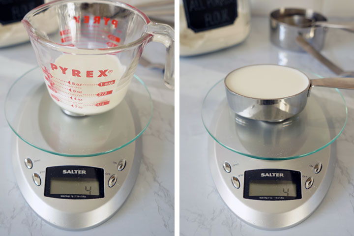 Side by side photos of milk being measure in liquid measuring cup and dry measuring cup on scales to show weight difference.