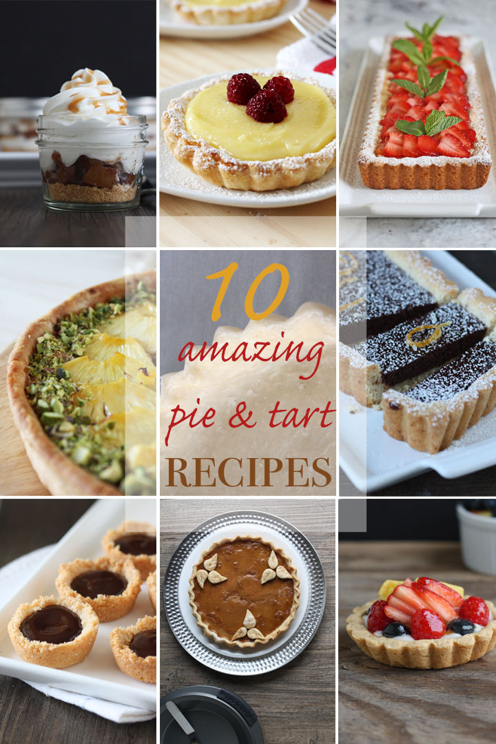 Photo collage with 9 pictures of pies and tarts