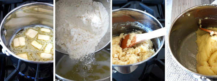 First four steps of making churro dough shown in a collage.
