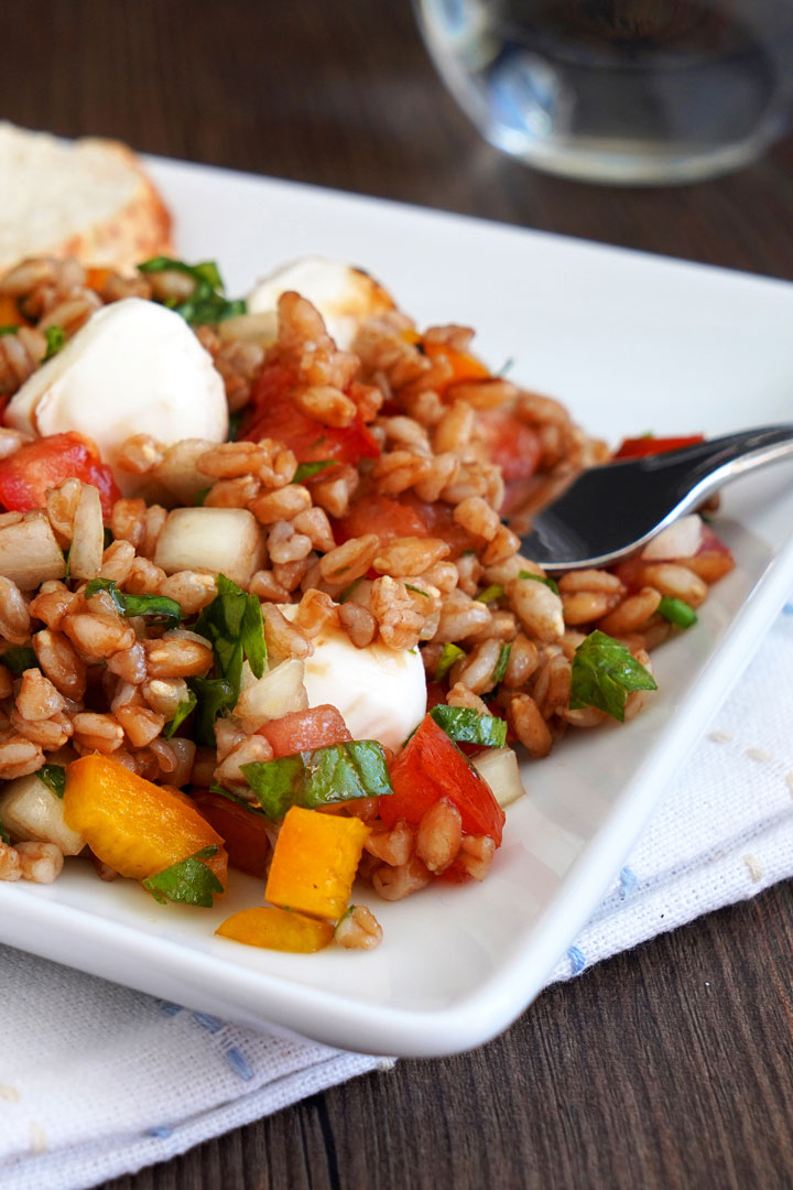 Italian herb farro salad on a white plate with bread and fork.