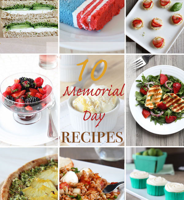 Collage showing 9 Memorial Day recipes.