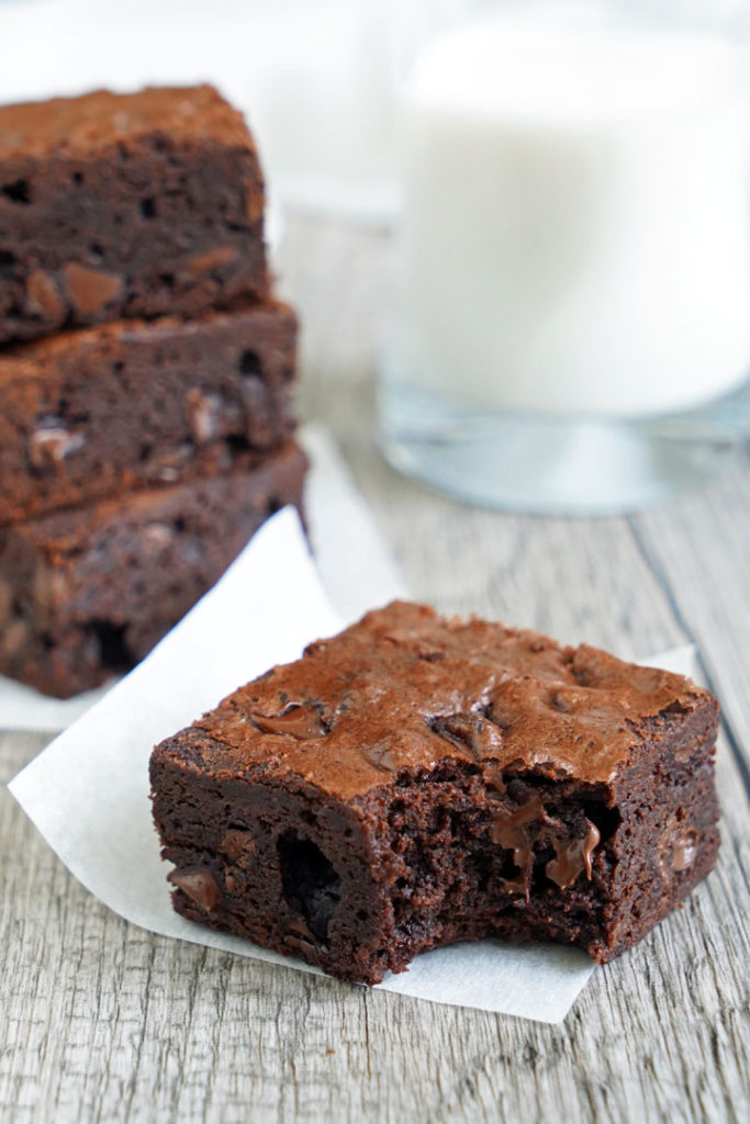 Close up of brownie with a bite taken