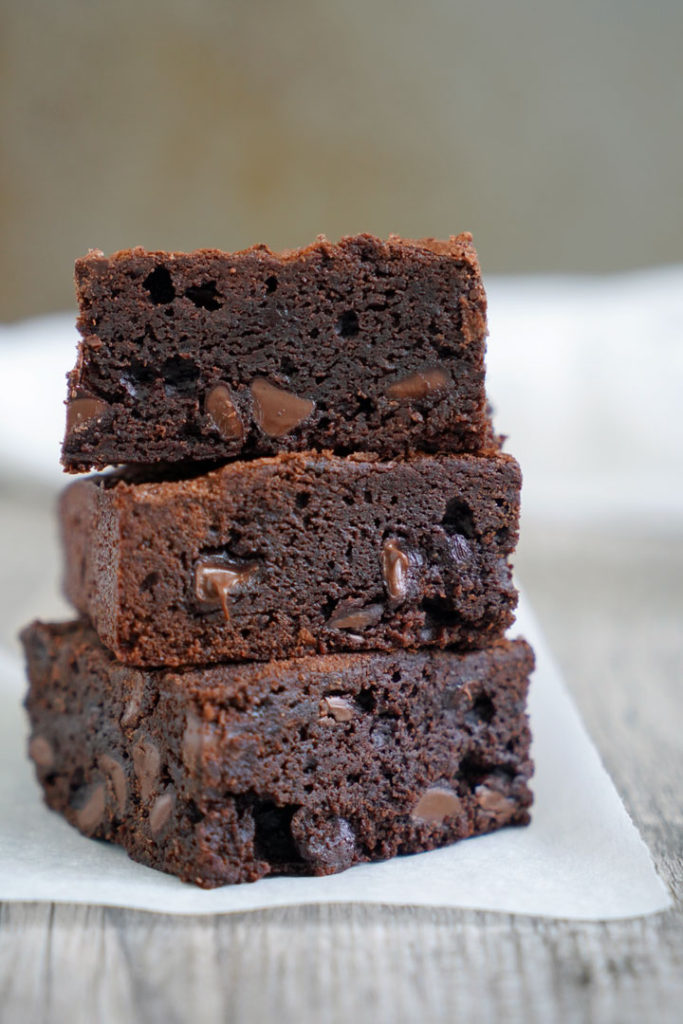 Stack of three classic brownies