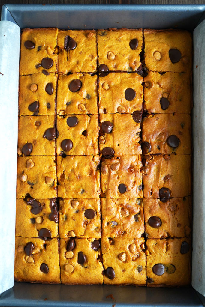 Butterscotch pumpkin cake bars in a metal pan and cut into squares.
