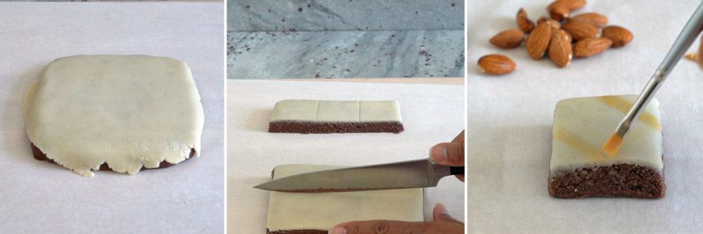 Process shots on how to decorate chocolate burfi.
