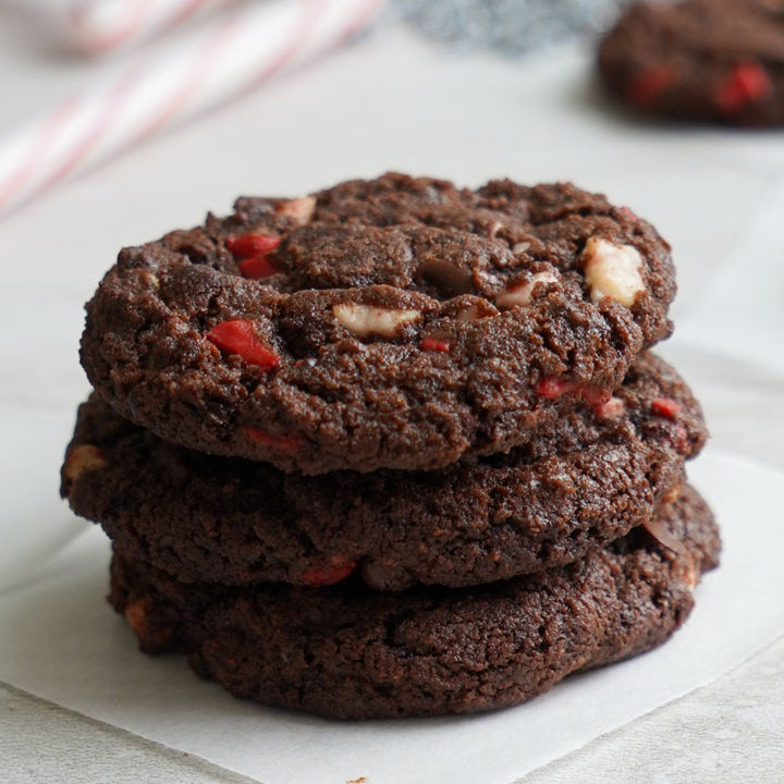 Double Chocolate Peppermint Chip Cookies