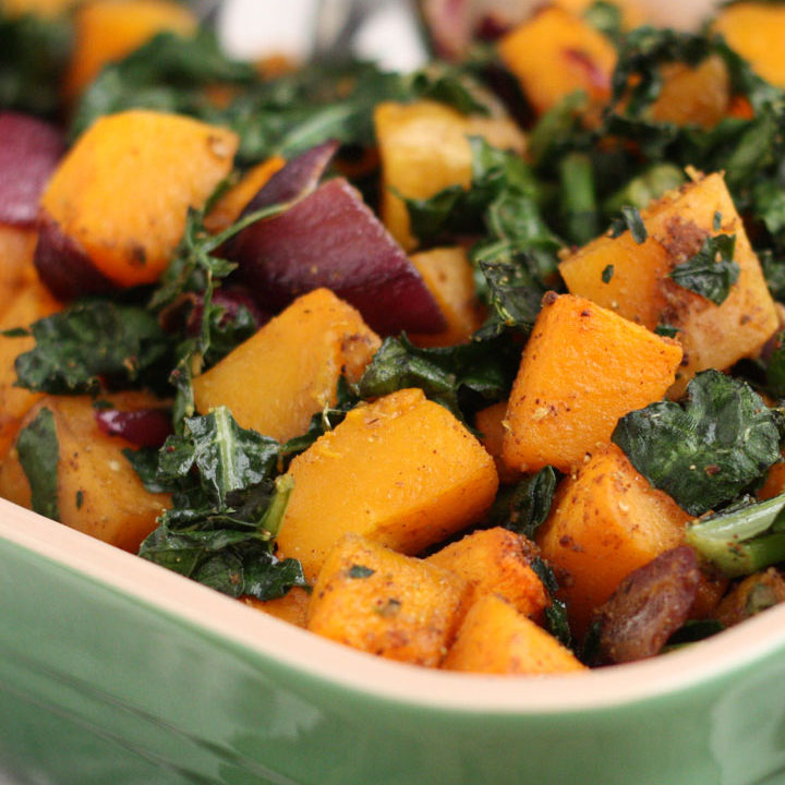 Spicy Roasted Butternut Squash and Kale