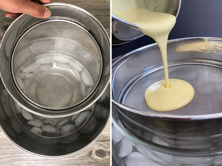 Custard sauce being strained over an ice bath.