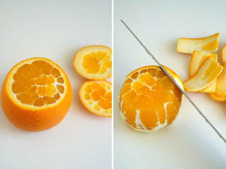 Collage showing how to cut the peel off an orange.