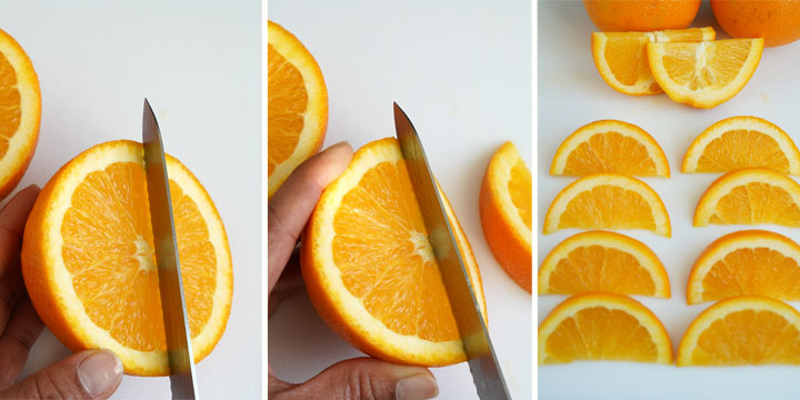 Three picture collage showing how to slice orange wedges.