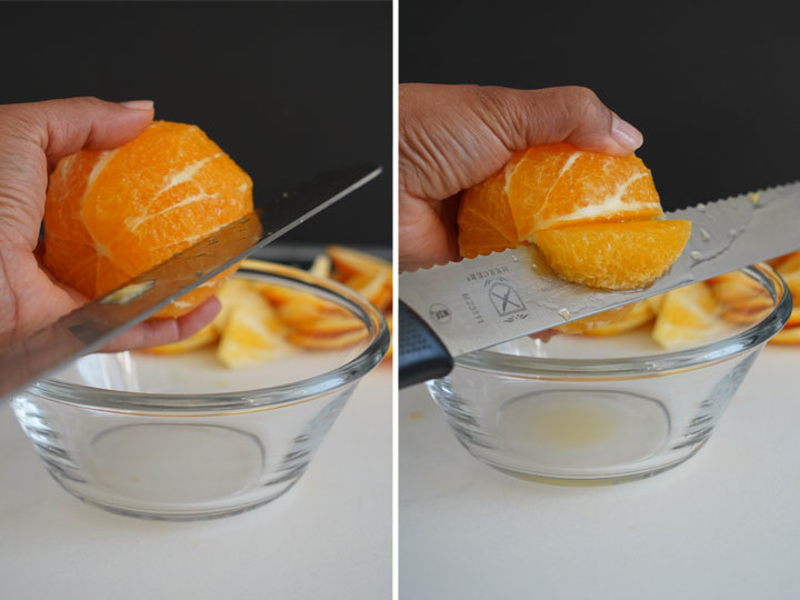 Collage showing how to segment an orange.