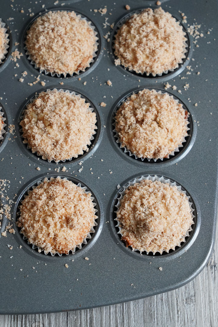 Baked muffins in a pan.