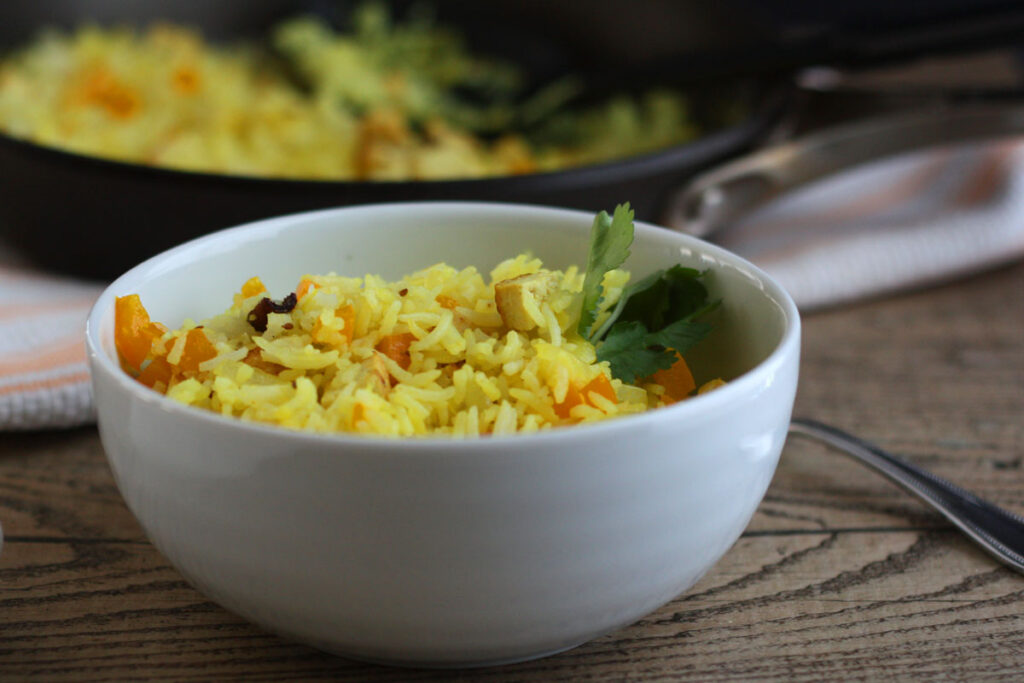 Bowl of Indian fried rice.