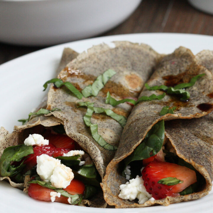 Strawberry Spinach Buckwheat Crepes Recipe